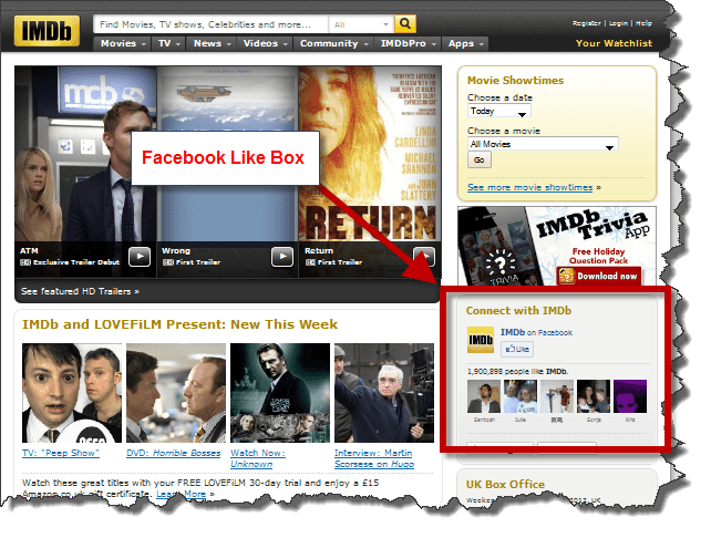 IMDB Facebook Like Box